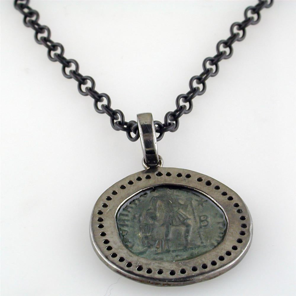 Original Bronze Roman Coin Sterling Silver Pendant with Diamond Halo Necklace
