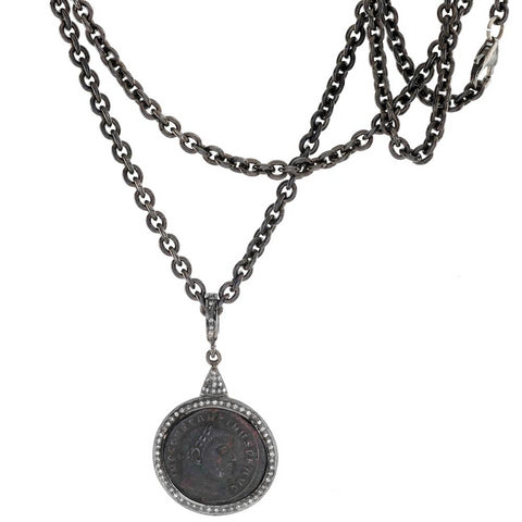 "1884 ""Aureliano Period 270-275 A.D."" Original Bronze Roman Coin Sterling Silver Pendant with Diamond Halo Necklace"