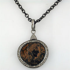 "1884 ""Aureliano Period 270-275 A.D."" Original Bronze Roman Coin Sterling Silver Pendant with Lobster Claw Clasp"