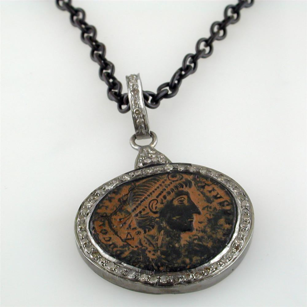 Original Bronze Roman Coin Sterling Silver Pendant with Diamond Halo Necklace Made in Italy