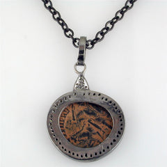 Historical Real Bronze Roman Coin Sterling Silver Pendant with Diamond Halo Necklace