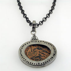 "1884 ""Aureliano Period 270-275 A.D."" Original Bronze Roman Coin Blackened Sterling Silver Pendant with Diamond Halo Necklace"
