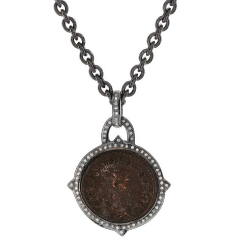 "1884 ""Caro Period 282-283 A.D."" Original Bronze Roman Coin Sterling Silver Pendant with Diamond Halo Necklace"