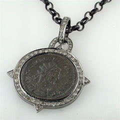 "1884 ""Caro Period 282-283 A.D."" Original Bronze Roman Coin Sterling Silver Pendant Made in Italy"