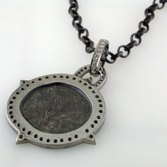 1884 Historical Original Bronze Roman Coin Sterling Silver Pendant with Diamond Halo Necklace