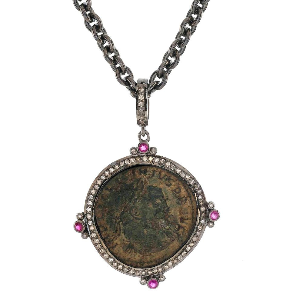 "1884 ""Licinio I Period 308-324 A.D."" Original Bronze Roman Coin Sterling Silver Pendant with Diamond Ruby Halo Necklace"