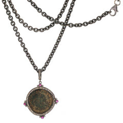 Original Bronze Roman Coin Sterling Silver Pendant with Diamond  Ruby Halo Necklace