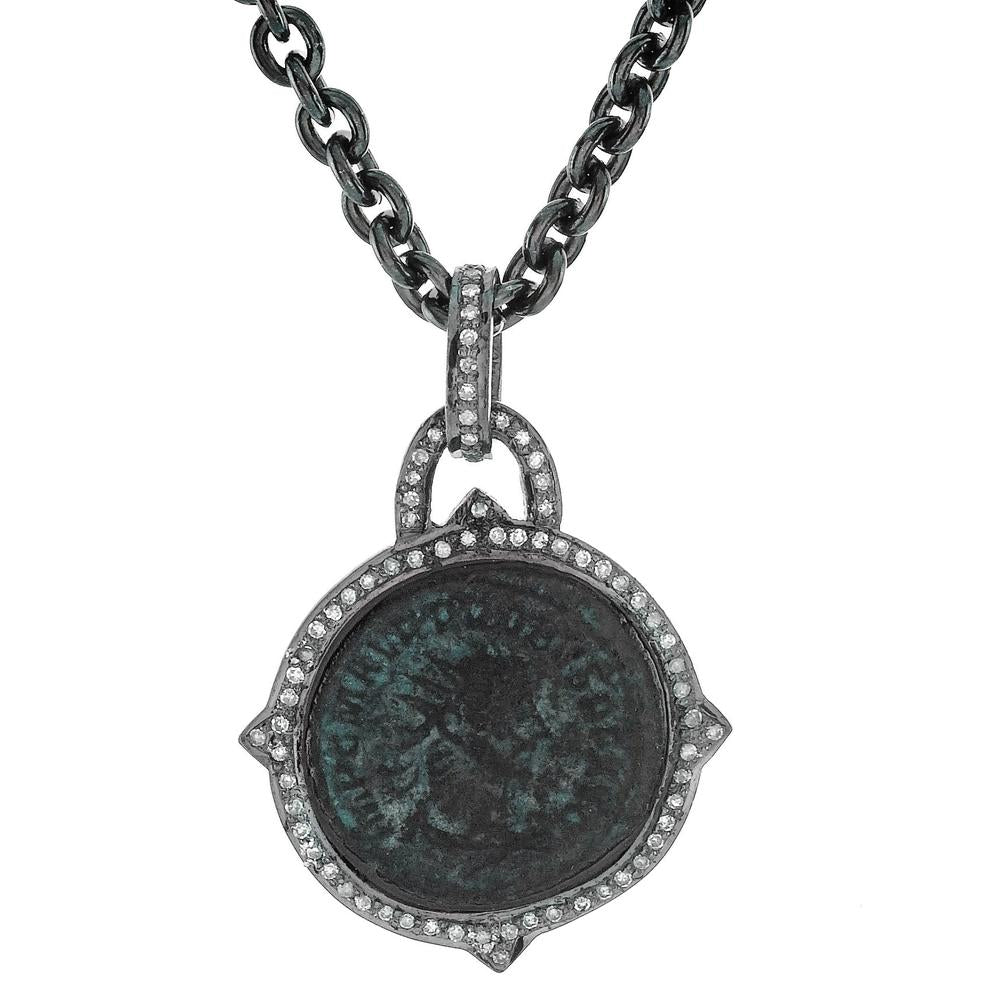 "1884 ""Probo Period 276-282 A.D."" Original Bronze Roman Coin Sterling Silver Pendant with Diamond Halo Necklace 36"""