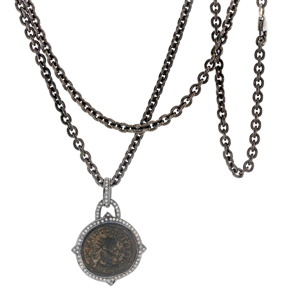 "1884 ""Probo Period 276-282 A.D."" Original Bronze Roman Coin Sterling Silver Pendant with Lobster Claw Clasp"