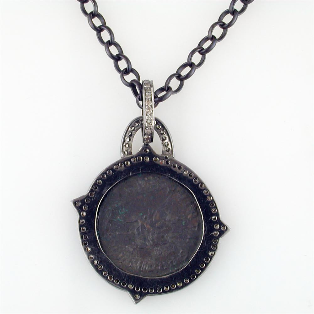 "1884 ""Probo Period 276-282 A.D."" Original Bronze Roman Coin Sterling Silver Pendant with Diamond Halo Necklace 36"" Made in Italy"