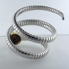 Original Bronze Coin set in Yellow Gold with Silver Tubogas Coil Bracelet