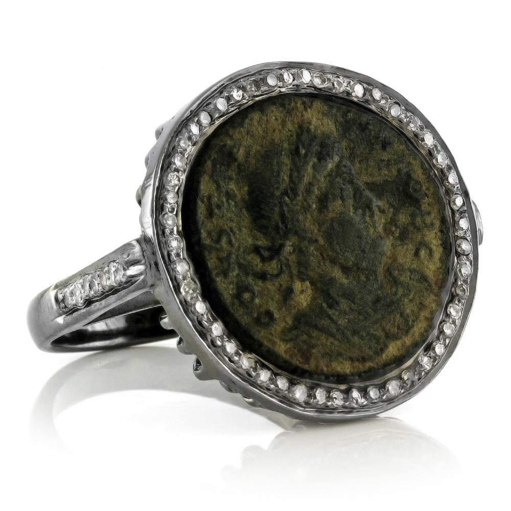 "1884 ""Settimo Severo Period 201-210 A.D."" Roman Empire Bronze Coin Sterling Silver Diamond Halo Ring"