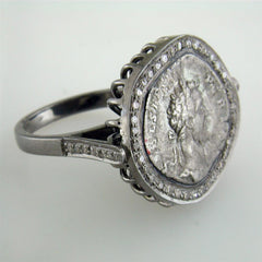 "1884 ""Settimo Severo Period 201-210 A.D."" Roman Empire Bronze Coin Blackened Sterling Silver Diamond Halo Ring"