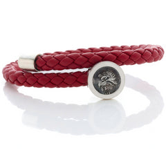 1884 Trevi Ottaviano Roman Coin Red Leather Sterling Silver Bracelet