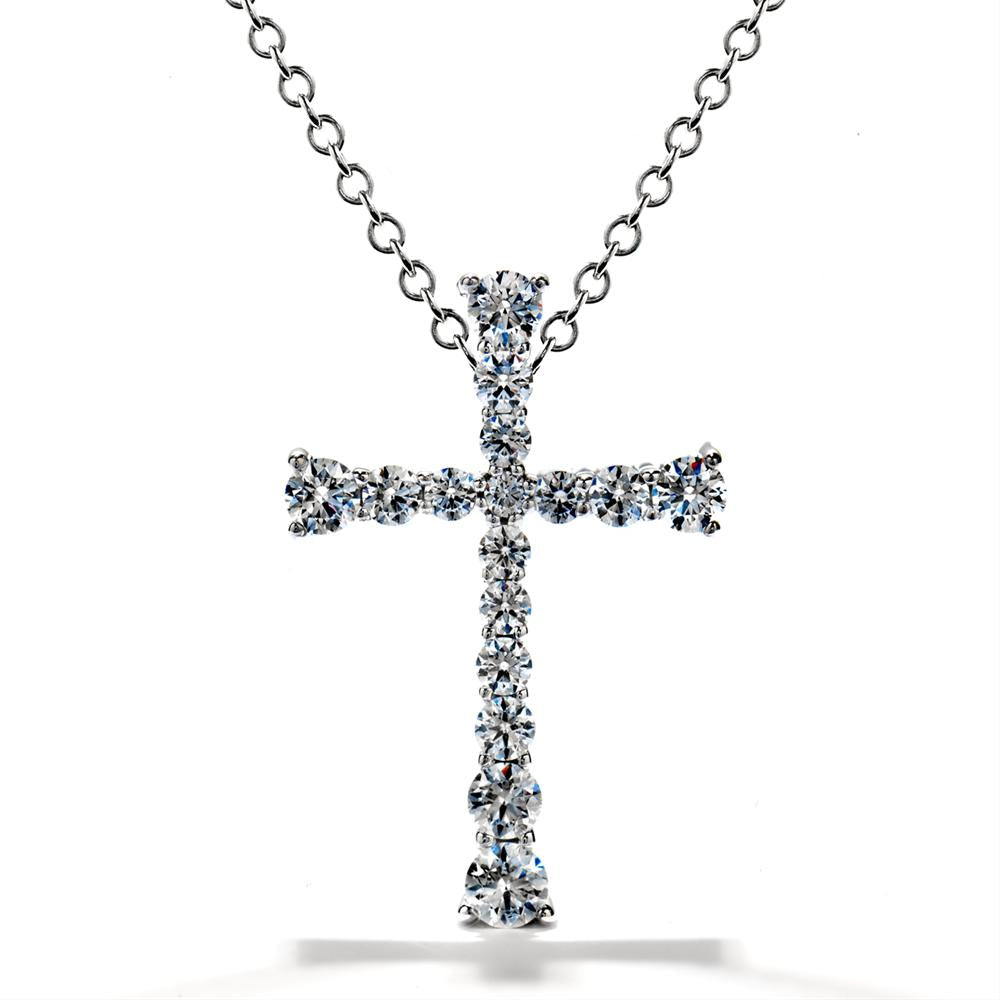 Hearts on Fire Divine Journey Diamond Cross Necklace Pendant 18K White Gold