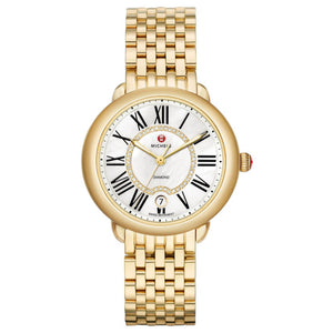 Michele Mother of Pearl Roman Numerals Yellow Diamonds Dial Gold-Tone Watch