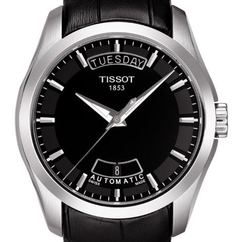 Tissot Couturier Automatic Open Back Black Leather 39MM Watch T0354071605100