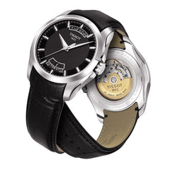 Tissot Gents Couturier Automatic Open Back Black Leather 39MM Watch T0354071605100