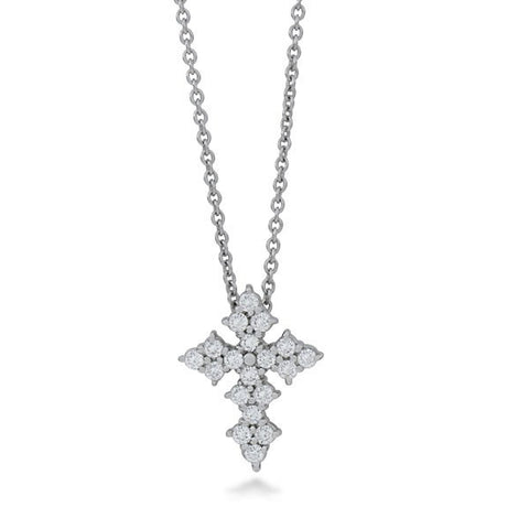 Roberto Coin 18k White Gold Baby Cross Pendant With Diamonds