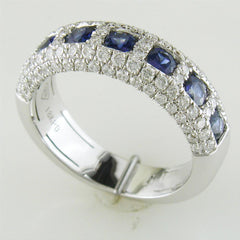 Seven Sapphire & Pave Diamond Wedding Band Ring 18K