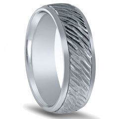 14K White Gold Satin Finish Vertical Corrugated Wedding Band Ring 7mm