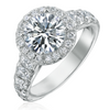 Round Brilliant 2.05 Carat GIA Diamond Halo Platinum Engagement Ring excellent ideal cut