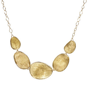 Marco Bicego Lunaria Oval Five Station Yellow Gold Necklace Pendant CB1779