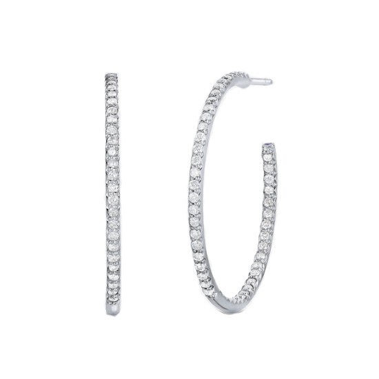 Roberto Coin 18k White Gold 30MM Inside Outside Diamond Hoop Earrings