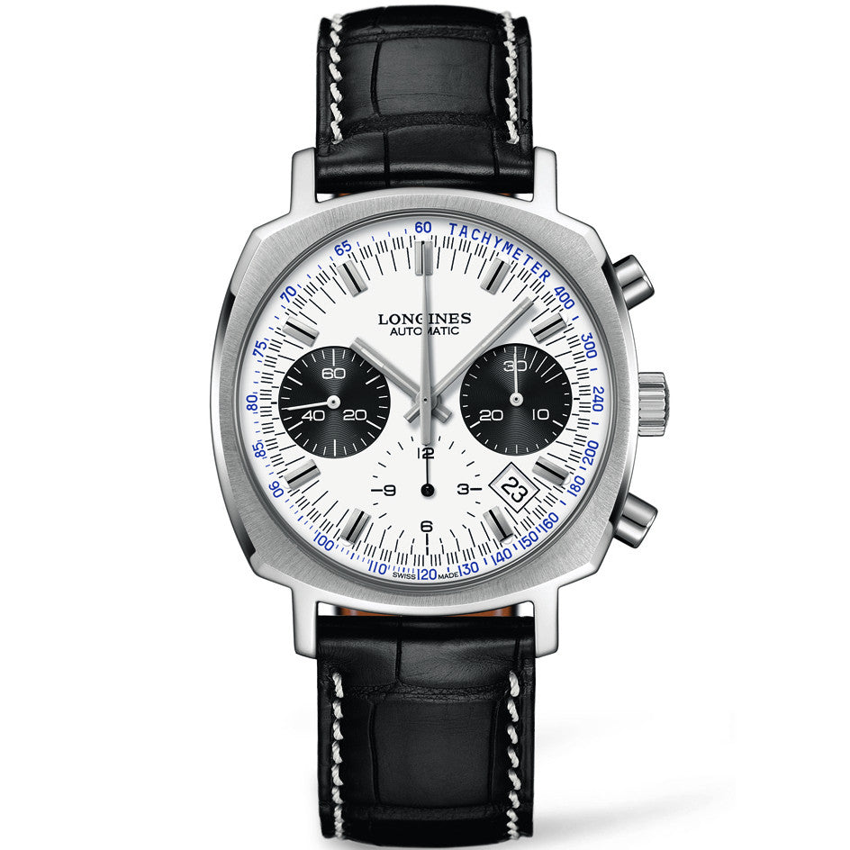 Longines Heritage Automatic Chronograph Black Subdial  Alligator Watch 40MM L27914720