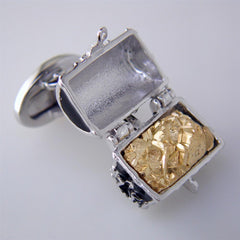 Jan Leslie Black Treasure Chest Cufflinks with Pyrite in Enameled Sterling Silver