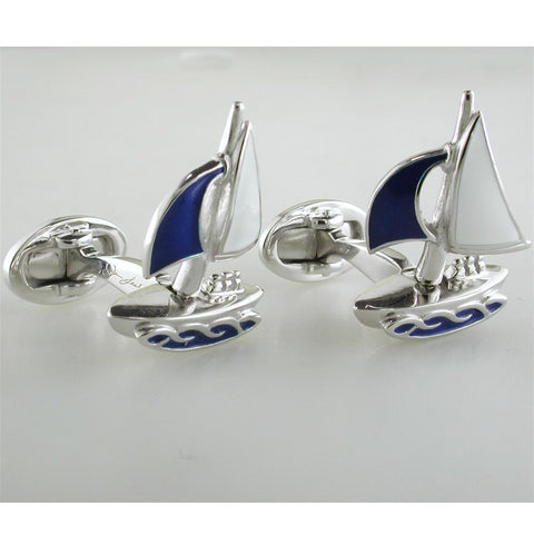 Jan Leslie Moving Sailboat Blue Enamel Sterling Silver Cufflinks