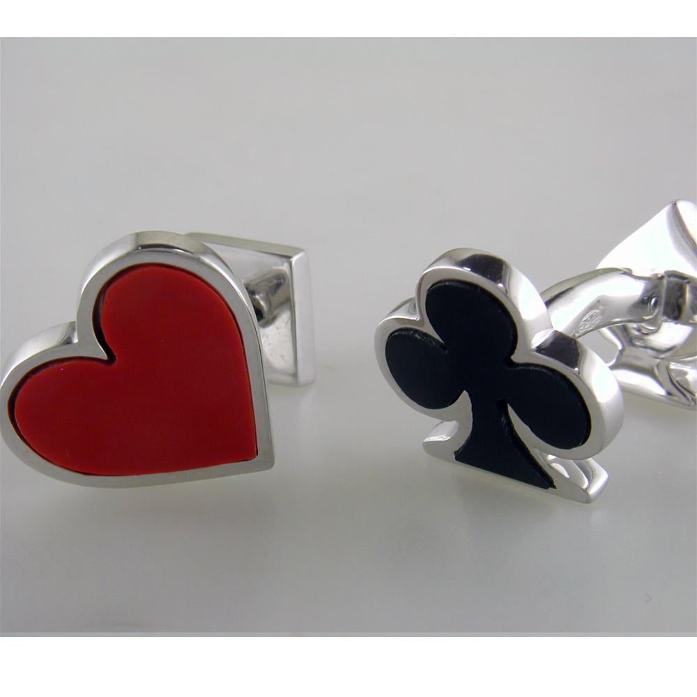 Jan Leslie Onyx and Carnelian Double Sided Card Suit Heart Spade Diamond Clover Cufflinks S030OXRA