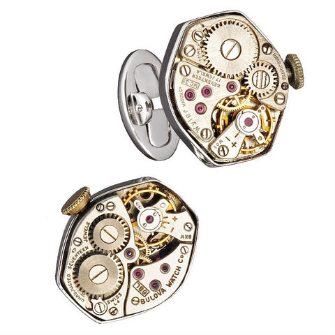 Jan Leslie Vintage Watch Rado & Bulova Movement Sterling Silver Cufflinks