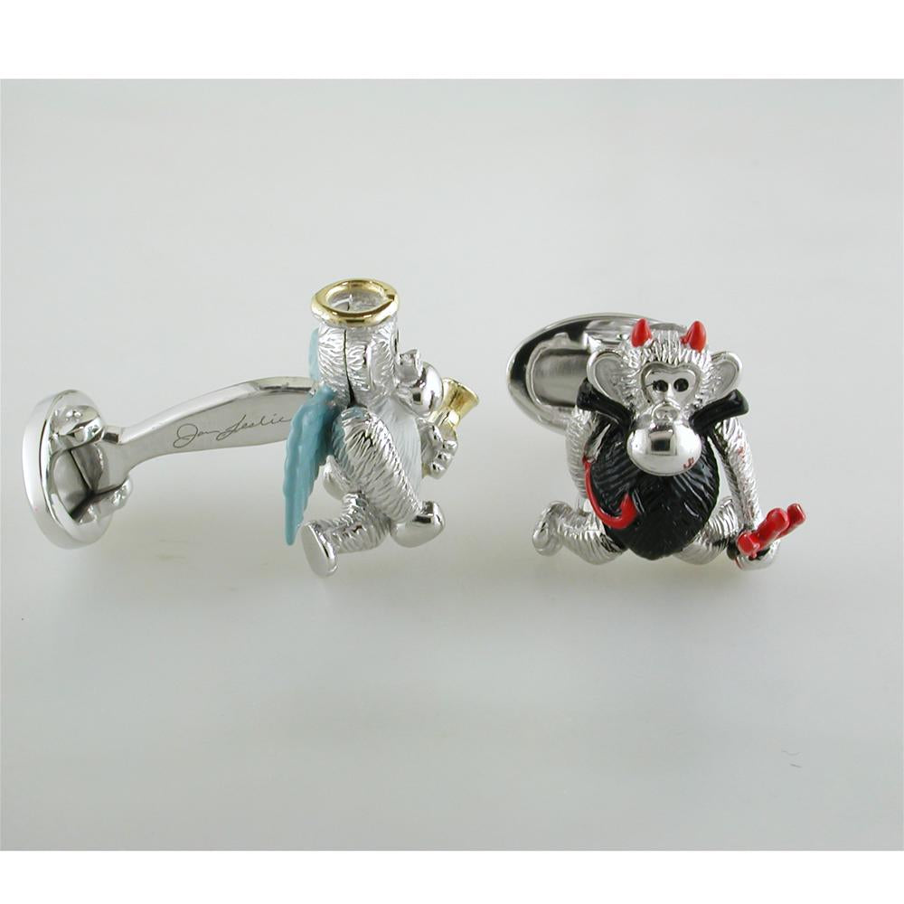 Jan Leslie Moving Monkey Angel & Devil Pitchfork Sterling Silver Cufflinks