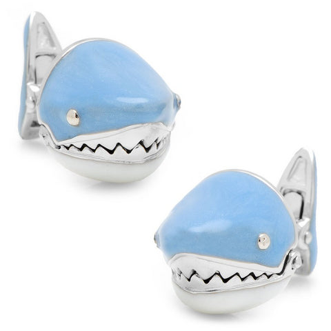 Jan Leslie Moving Blue Shark Jaws Sterling Silver Cufflinks
