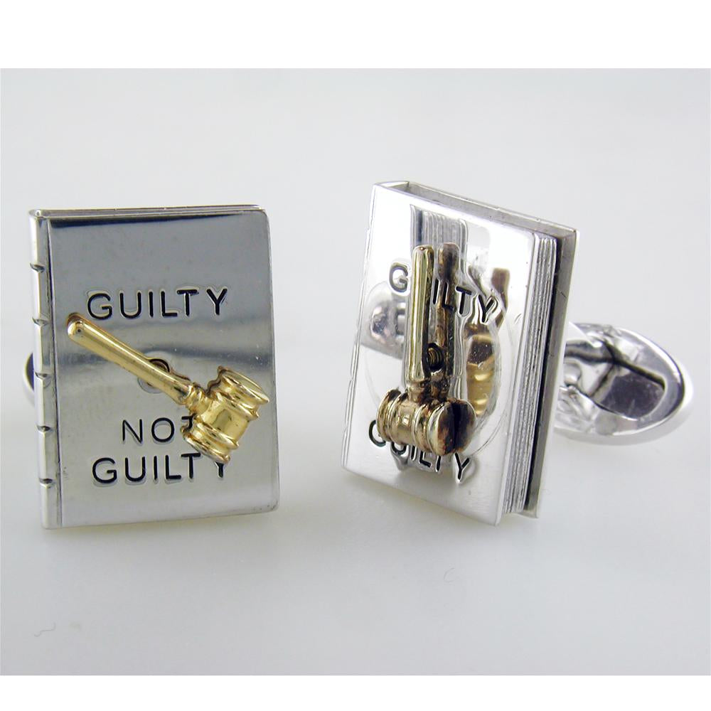 Jan Leslie Guilty or Not Guilty Sterling Silver Gold Gavel Spinner Judge Lawyer Cufflinks