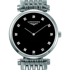 Longines La Grande Classique Quartz Black Dial Stainless Steel Watch 24MM L42094586