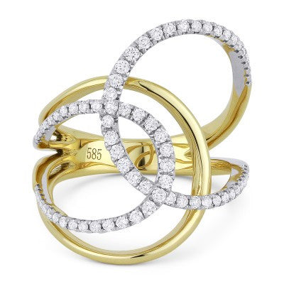 Madison L. Yellow & White Gold Diamond Crossover Design Ring DR13055