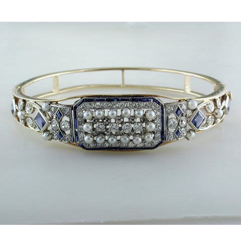 Vintage Estate Art Deco 14K Yellow Gold Bracelet with Filigree Diamonds Sapphires Pearls