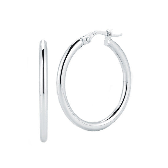 Roberto Coin 18k White Gold 25MM Perfect Hoop Earrings