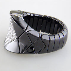 Roberto Demeglio Diva Elastic Stretch Ring in Black Shiny Ceramic with Concave Diamonds