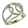 14K Yellow & White Gold Diamond Crossover Design Ring R1014Y