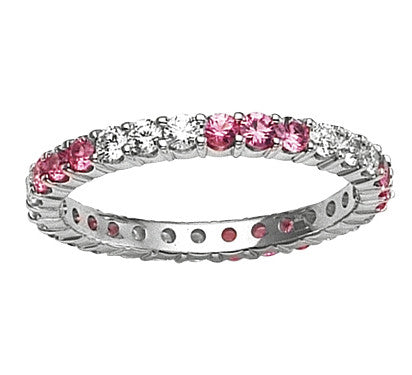 Diamond & Pink Sapphire Three Alternating Eternity Wedding Band Anniversary Ring 18K White Gold