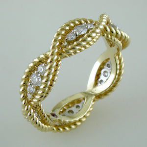 Roberto Coin Barocco 18K Yellow and White Gold Diamond Eternity Band Infinity Ring
