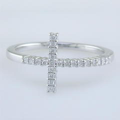 Roberto Coin Slim Diamond Cross Ring in White Gold