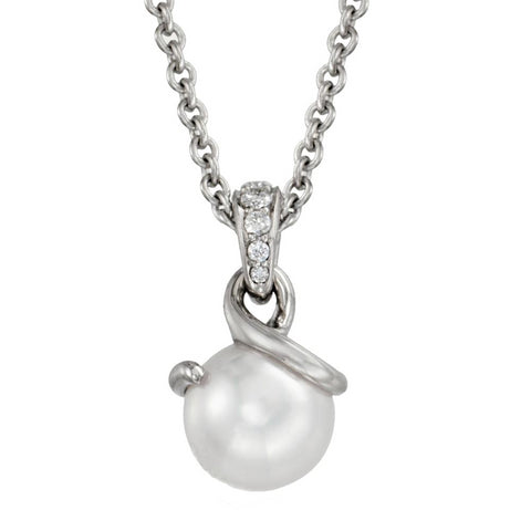 Mikimoto Twist Pendant with 8mm Akoya White Pearl & Diamonds MPA10025ADXW