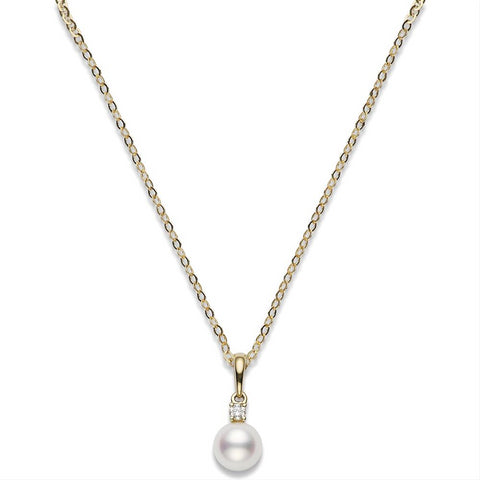 Mikimoto Akoya 7-7.5mm Pearl & Diamond Pendant Yellow Gold PPS 702D K