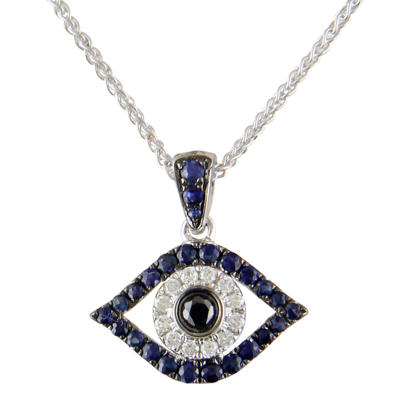 Evil eye mati blue sapphire diamond black diamond pendant evil eye mati blue sapphire diamond black diamond pendant necklace 18k white gold aloadofball Image collections