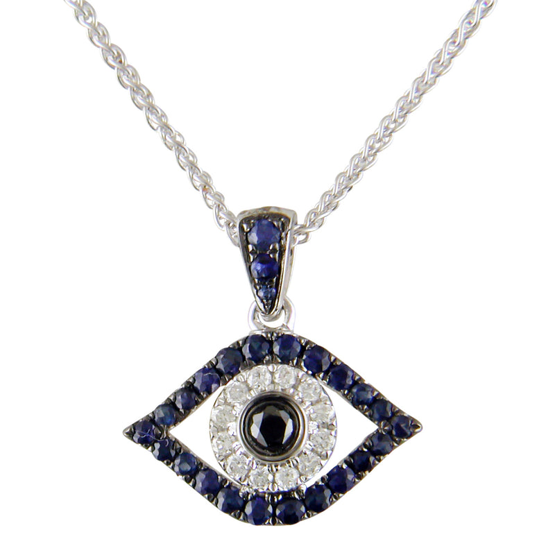 Evil Eye Mati Blue Sapphire, Diamond & Black Diamond Pendant Necklace 18K White Gold