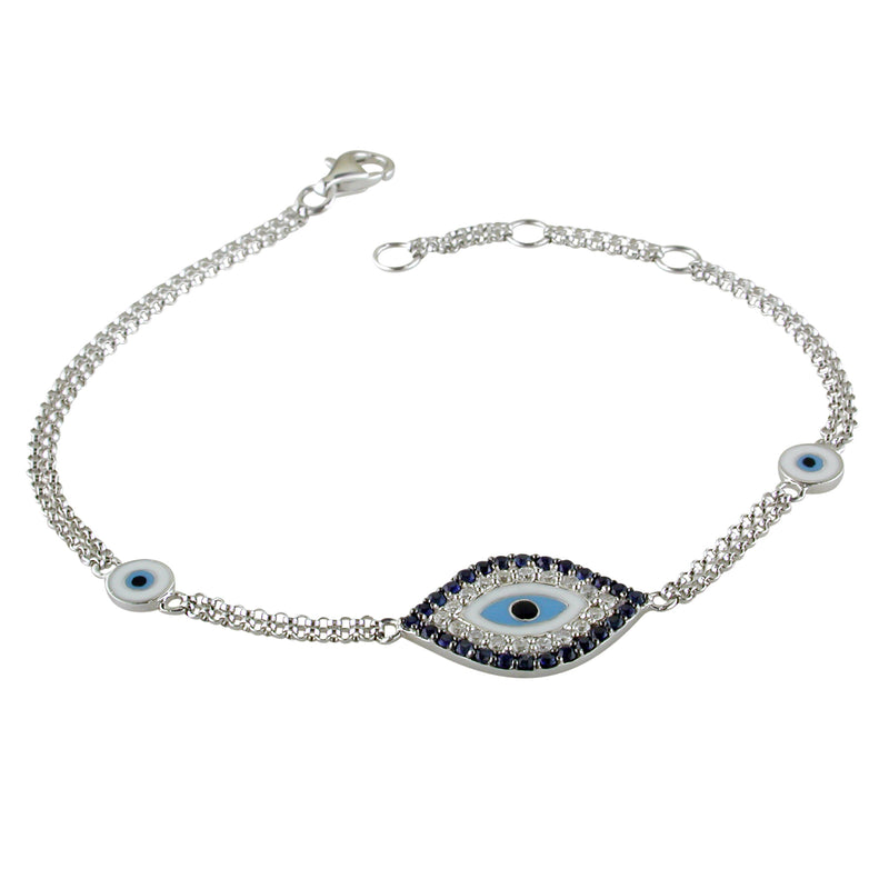 Evil Eye Mati Blue Sapphire & Diamond Diamond 18K White Gold Bracelet with Enamel